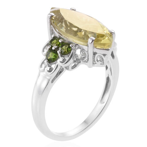Natural Green Gold Quartz (Mrq 5.20 Ct), Russian Diopside Ring in Platinum Overlay Sterling Silver 5.750 Ct.