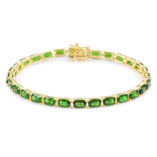 Russian Diopside (Cush) Tennis Bracelet (Size 7.5) in Yellow Gold Overlay Sterling Silver 15.750 Ct.