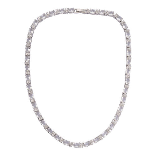 Close Out Deal Simulated Diamond Necklace (Size 16) in Silver Tone. 87.00 CT