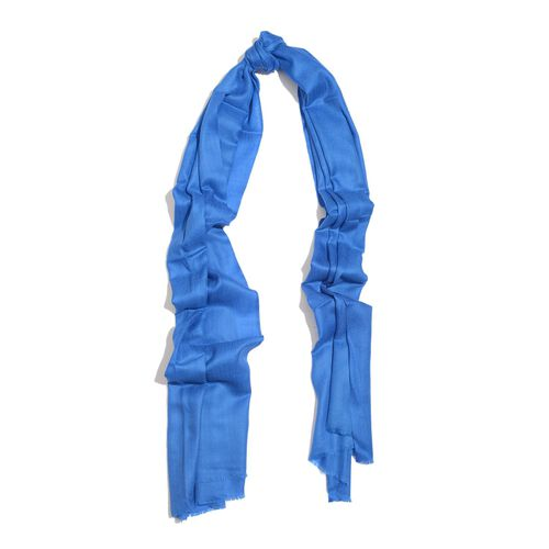 100% Cashmere Wool Royal Blue Colour Shawl (Size 200x70 Cm)
