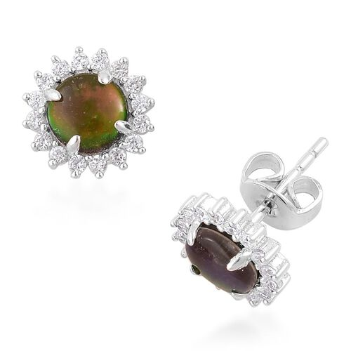 AA Canadian Ammolite (Rnd), White Zircon Stud Earrings (with Push Back) in Platinum Overlay Sterling Silver 2.150 Ct.
