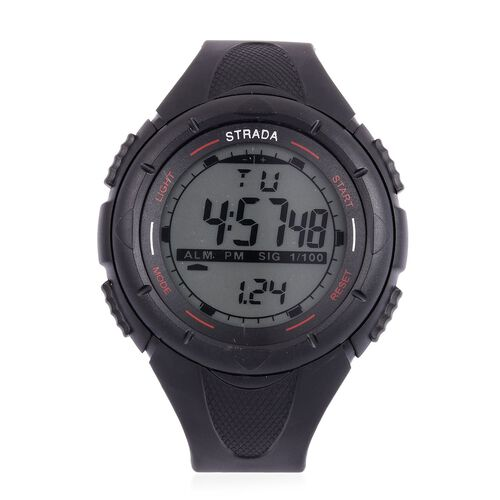 STRADA Electronic Movement LED Display Watch in Black Tone with Stainless Steel Back and Black Silicone Strap