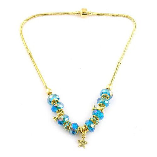Blue Art Glass Charm Necklace (Size 18) in Gold Bond