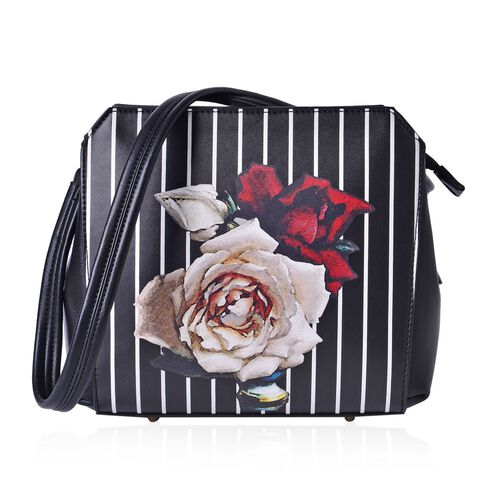 MILANO COLLECTION Rosa Floral Pattern Shoulder Bag with External Zipper Pocket (Size 24.5x22x12.5 Cm)