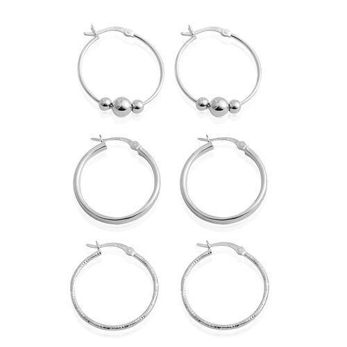 Vicenza Collection-Set of 3 - Sterling Silver Hoop and Ball Hoop Earrings (with Clasp), Silver wt 6.20 Gms.