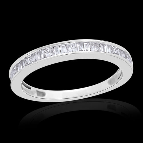 ILIANA 18K White Gold 0.50 Carat Diamond Half Eternity Band Ring IGI Certified (SI/G-H)