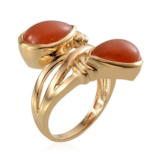 Mitiyagoda Peach Moonstone (Pear) Ring in 14K Gold Overlay Sterling Silver 8.750 Ct.