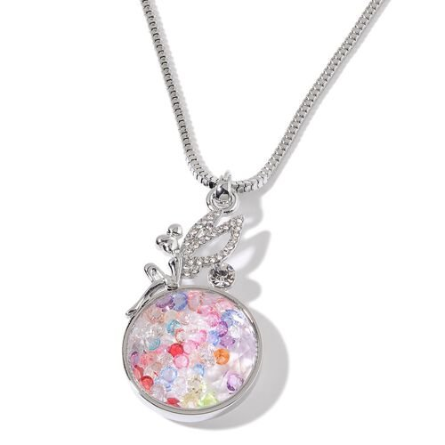 Multi Colour Austrian Crystal and White Austrian Crystal Pendant With Chain in Silver Tone