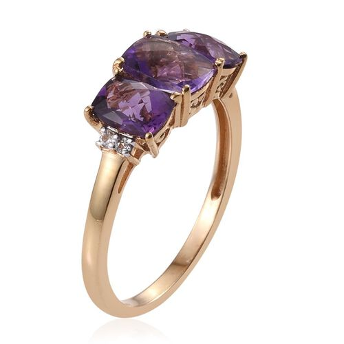Checkerboard Cut AA Lusaka Amethyst (Cush 1.20 Ct), White Topaz Ring in 14K Gold Overlay Sterling Silver 2.750 Ct.