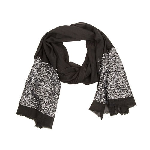 Black Colour Jacquard Hand Stiched Sequin Border Scarf (Size 195x70 Cm)
