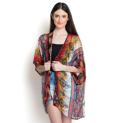 Multi Colour Printed White Colour Kimono (Free Size)
