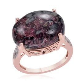 Russian Eudialyte (Ovl 11.00 Ct), Diamond Ring in Rose Gold Overlay Sterling Silver 11.050 Ct.