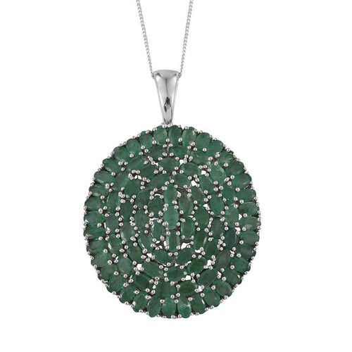 Kagem Zambian Emerald (Ovl) Cluster Pendant With Chain in Platinum Overlay Sterling Silver 17.500 Ct. Silver wt 14.00 Gms.