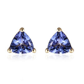 AA Tanzanite Stud Earrings (with Push Back) in 9K Gold  1.25 Ct