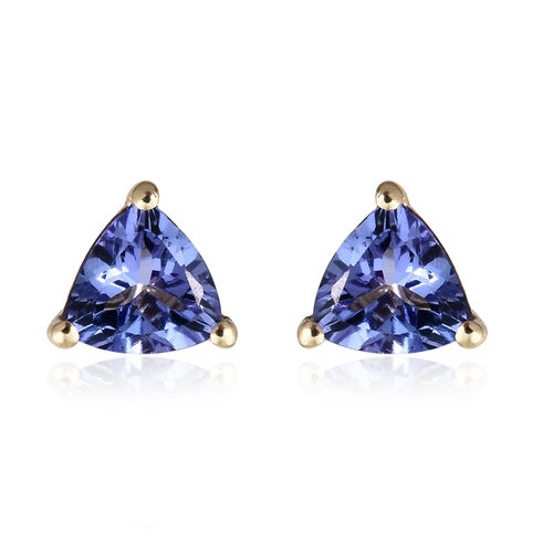 1.25 Ct AA Tanzanite Stud Earrings in 9K Gold (with Push Back)
