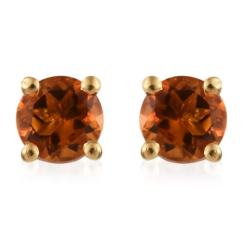 Madeira Citrine (Rnd) Stud Earrings (with Push Back) in 14K Gold Overlay Sterling Silver 0.500 Ct.