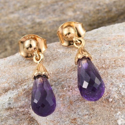 Checkerboard Cut AA Lusaka Amethyst Drop Earrings (with Push Back) in 14K Gold Overlay Sterling Silver 4.000 Ct.