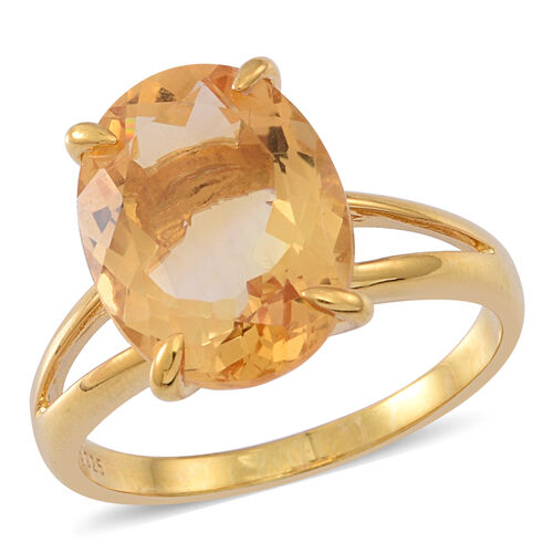 AAA Rare Size Uruguay Citrine (Ovl) Solitaire Ring in 14K Gold Overlay Sterling Silver 9.000 Ct.