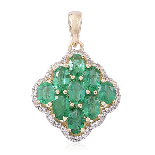Designer Inspired- 9K Yellow Gold AA Kagem Zambian Emerald (Ovl), Natural White Cambodian Zircon Pendant 3.250 Ct.