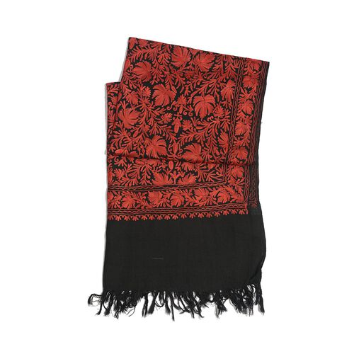 Limited Available - 100% Merino Wool Red Colour Flowers Cashmere Hand Embroidered Shawl (Size 180x70 Cm)