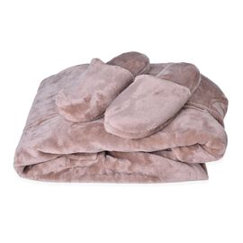 Designer Inspired-Chocolate Colour Flannel Wrap with Hood and Zipper Front (Free Size) and Pair of Slipper (Size 9)