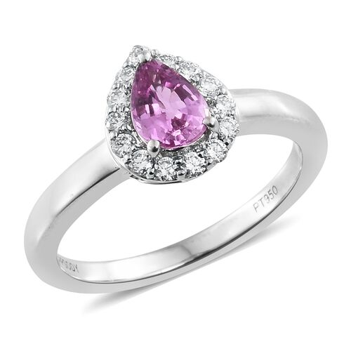 RHAPSODY 1 Carat AAAA Pink Sapphire and Diamond (VS/E-F) Halo Ring in 950 Platinum