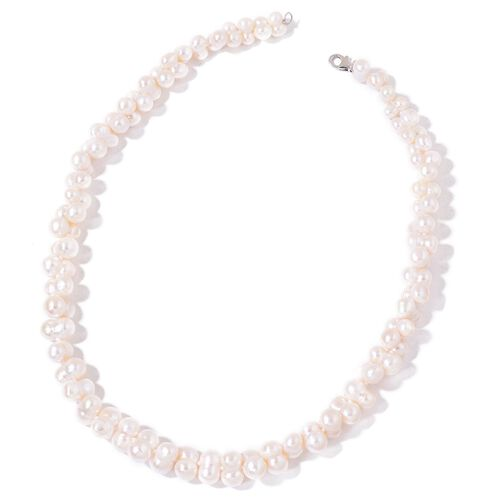 Fresh Water White Pearl Necklace (Size 22) in Rhodium Plated Sterling Silver