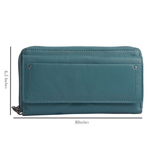 Genuine Leather RFID Blocker Teal Green Colour Wallet with Multiple Card Slots (Size 19X10.5X5 Cm)