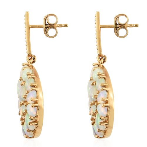 Ethiopian Welo Opal (Pear), Natural Cambodian Zircon Drop Earrings (with Push Back) in 14K Gold Overlay Sterling Silver 4.000 Ct.