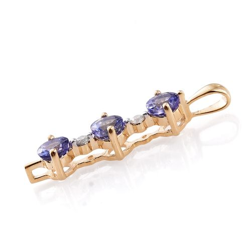 9K Yellow Gold 0.75 Ct AA Tanzanite and Diamond Pendant