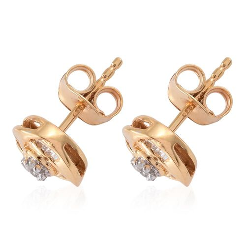 Diamond (Rnd) Knot Stud Earrings (with Push Back) in 14K Gold Overlay Sterling Silver 0.150 Ct.