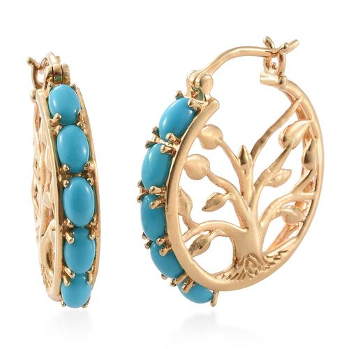 Arizona Sleeping Beauty Turquoise (Ovl) Tree of Life Hoop Earrings in 14K Gold Overlay Sterling Silver 2.250 Ct.