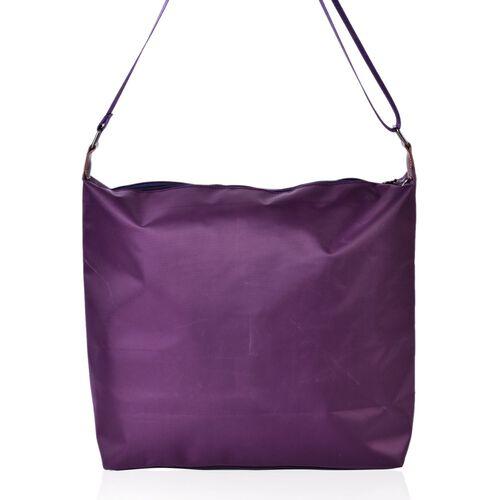 Purple Colour Crossbody Bag with External Zipper Pocket and Adjustable Shoulder Strap (Size 38x34x32x12.5 Cm)
