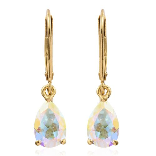 Mercury Mystic Topaz (Pear) Lever Back Earrings in 14K Gold Overlay Sterling Silver 3.000 Ct.