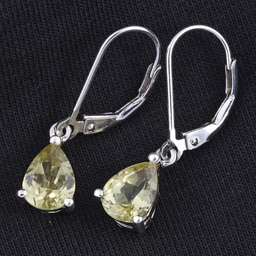 Natural Canary Apatite (Pear) Lever Back Earrings in Platinum Overlay Sterling Silver 2.000 Ct.