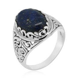 Royal Bali Collection Lapis Lazuli (Ovl) Solitaire Ring in Sterling Silver 5.670 Ct. Silver wt. 4.00 Gms.