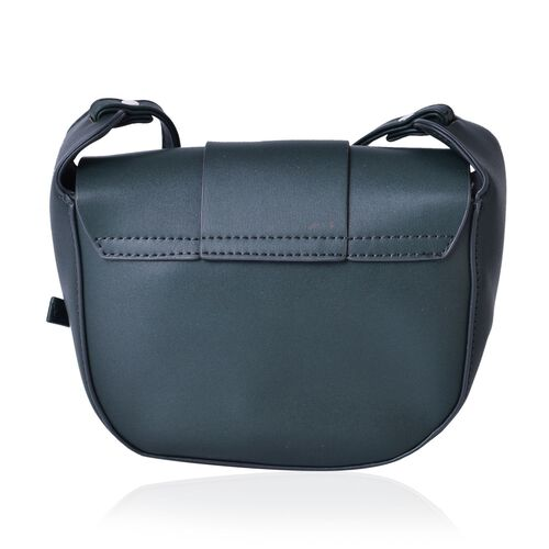 Green Colour Crossbody Bag with Magnetic Closure Flap and Adjustable Shoulder Strap (Size 19x16x6 Cm)
