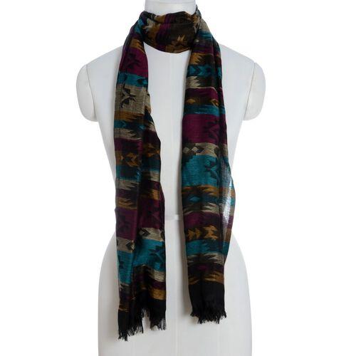 100% Modal Multi Colour Stripy Pattern Shawl (Size 180x70 Cm)