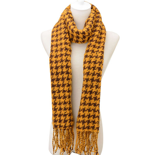 Houndstooth Pattern Yellow and Brown Colour Scarf (Size 55x190 Cm)