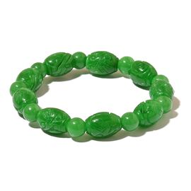 Limited Edition - Rare AAA Green Jade Hand Carved Engraved Stretchable Bracelet (Size 7.5) 155.500 Ct.