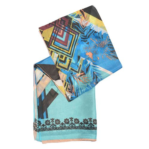 100% Mulberry Silk Blue, Black and Multi Colour Handscreen Printed Scarf (Size 200X180 Cm)
