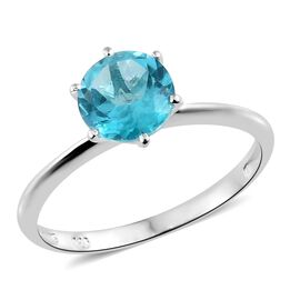 One Time Mega Deal- Rare Size Blue Apatite (Rnd 8MM) Solitaire Ring in Sterling Silver 1.750 Ct.