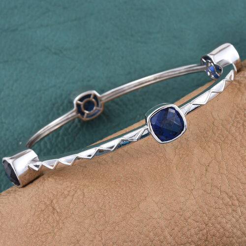 Ceylon Colour Quartz (Cush) Bangle (Size 7.5) in ION Plated Platinum Bond 14.000 Ct.