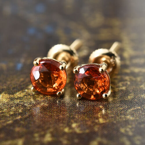 ILIANA 18K Yellow Gold 1 Carat AAA Orange Sapphire (Rnd) Stud Earrings (with Screw Back)