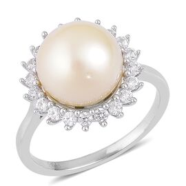 Limited Edition AAA South Sea White Pearl (Rnd 12.5-13mm), Natural Cambodian Zircon Ring in Rhodium Plated Sterling Silver