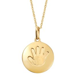 Child Handprint Pendant With Chain in Gold Plated Silver