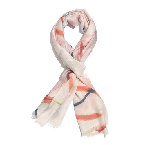 100% Merino Wool Pink, Cream and Multi Colour Printed Scarf (Size 180X65 Cm)