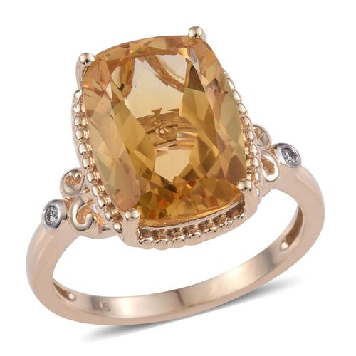 9K Y Gold AAA Rare Cushion Cut Citrine and Diamond Ring 6.27 Ct.