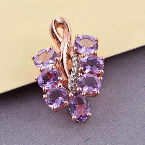Rose De France Amethyst (Ovl) Bunch of Grapes Pendant in Rose Gold Overlay Sterling Silver 2.000 Ct.