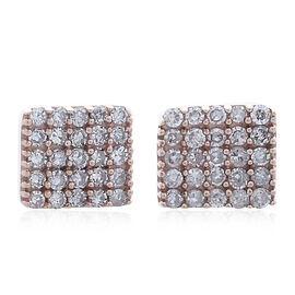 Limited Edition- 9K Rose Gold 0.25 Ct Natural Pink Diamond Pave Cluster Stud Earrings (with Push Back)